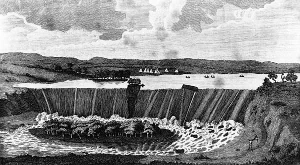 Artistic rendition of the falls prior to damming, Brittanica