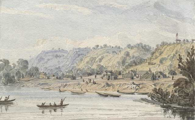 Taoyateduta's village at Kaposia on the Mississippi River, ca.1846–1848. Water color painting by Seth Eastman.